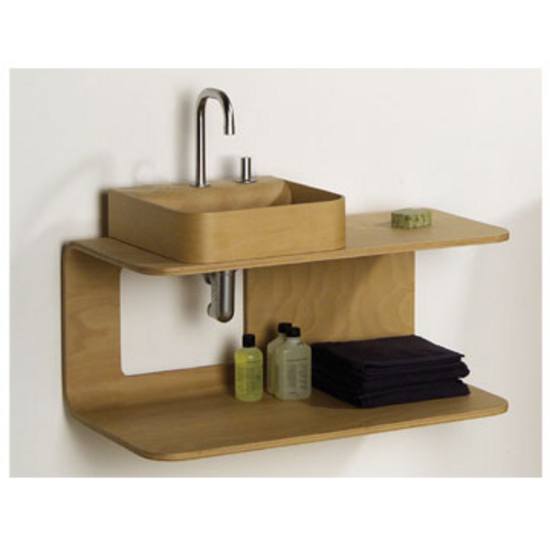 Whitehaus Aeri Dual Shelf Wall Mount Natural or Ebony Wood Bathroom Vanity