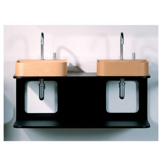 Whitehaus Aeri Large Dual Shelf Wall Mount Natural or Ebony Wood Bathroom Vanity For Two Washbasins