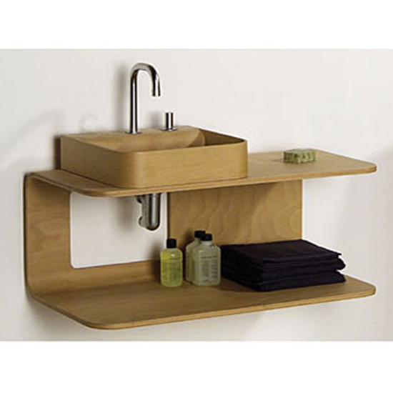 Whitehaus Aeri Large Dual Shelf Wall Mount Natural or Ebony Wood Bathroom Vanity