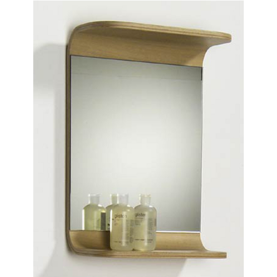 Aeri Small Rectangular Wood Mirror With Integral Shelf By Whitehaus