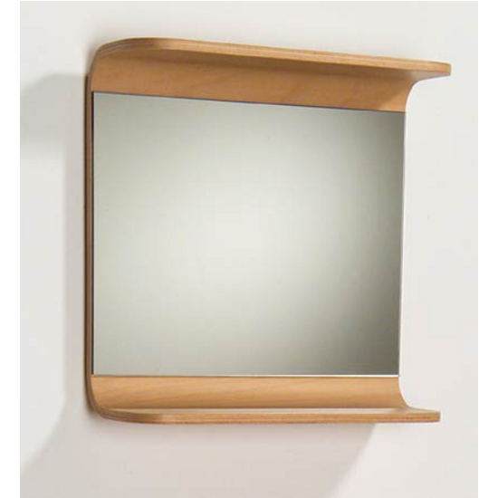 Aeri Rectangular Wood Mirror with Integral Shelf By Whitehaus