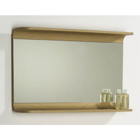 Bathroom Mirrors Aeri Large Rectangular Wood Mirror W Integral Shelf By Whi