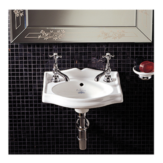 Whitehaus Wall Mounted White China Basin with Backsplash, 1 Faucet Hole
