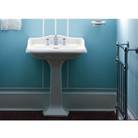 "Whitehaus 26""W China Pedestal Sink with Integral Rectangular Basin and Backsplash, Single Hole"