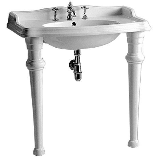 Isabella collection rectangular bathroom console w oval - Kitchen sink support brackets ...