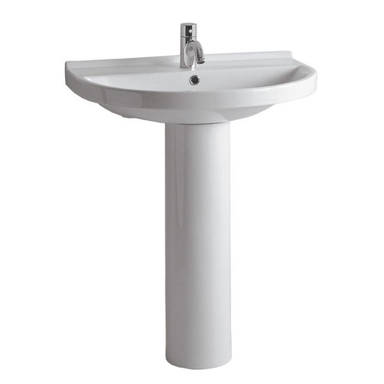 "Whitehaus 23-1/2""W Tubular China Pedestal Sink with U-shaped Basin, Single Hole Faucet Drilling"