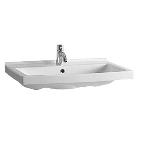 "Whitehaus 23-1/2""W Rectangular Wall Mounted China Basin, Single Hole Faucet Drilling"