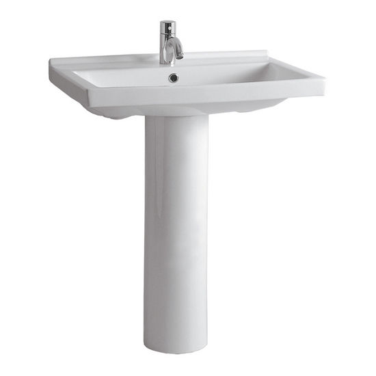 "Whitehaus 23-1/2""W Tubular China Pedestal Sink with Rectangular Basin, Single Hole Faucet Drilling"