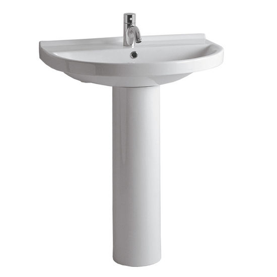 "Whitehaus 27-1/2""W Tubular China Pedestal Sink with U-shaped Basin, Single Hole Faucet Drilling"