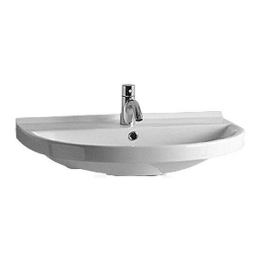 "Whitehaus 27-1/2""W U-shaped Wall Mounted China Bathroom Sink, No Faucet Hole"