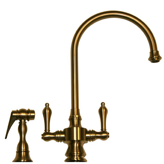 Whitehaus Vintage III Dual Lever Handle Gooseneck Single Hole Faucet
