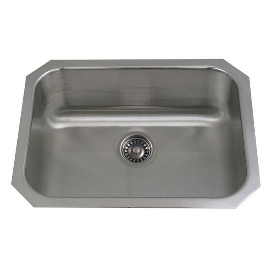 """Whitehaus New England Series Stainless Steel Undermount Sink, 23½""""W x 18¼""""D x 8½""""H"""