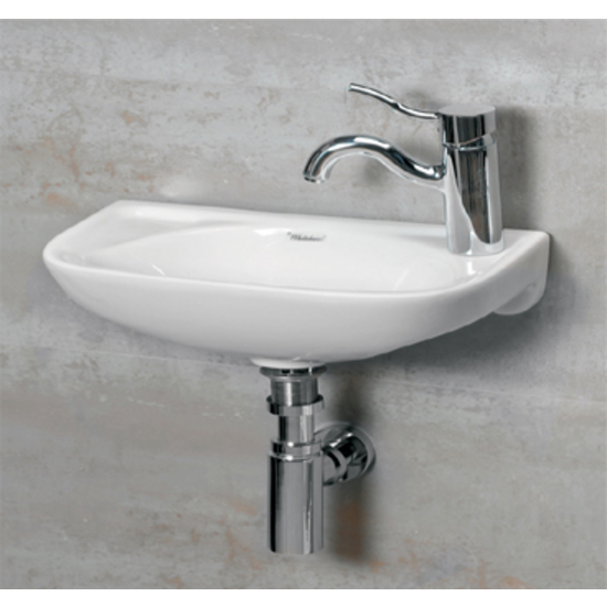 Whitehaus Small Wall Mounted China Bath Basin with Single Faucet Hole on Left Side