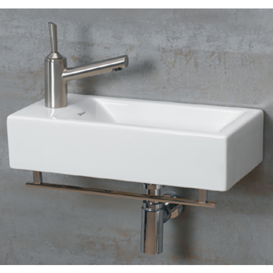Whitehaus   Wall Mount Bathroom Sink W/Towel Bar, Faucet Drilling On Left