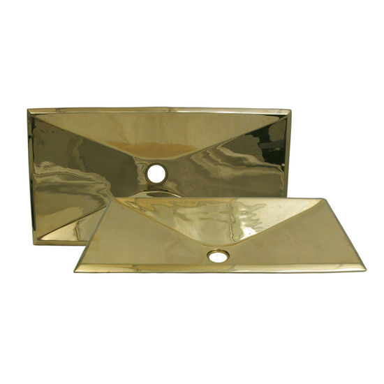 Whitehaus Rectangular Above Mount Basin, Polished Brass