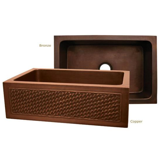 "Whitehaus Copperhaus Collection Rectangular Undermount Sink w/ Basket Weave Apron, 30""W x 20""D x 10¼""H"