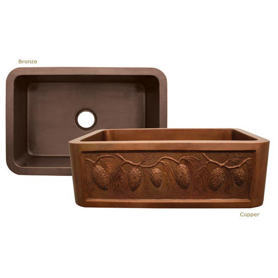 "Whitehaus Copperhaus Collection Rectangular Undermount Sink w/ Pine Cone Front Apron, 30""W x 20""D x 10¼""H"