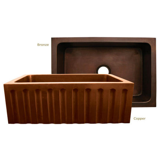 "Whitehaus Copperhaus Collection Rectangular Undermount Sink w/ Fluted Front Apron, 30""W x 20""D x 10¼""H"