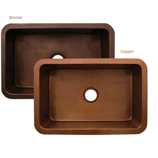 "Whitehaus Copperhaus Collection Rectangular Undermount Sink, 30""W x 20""D x 10""H"