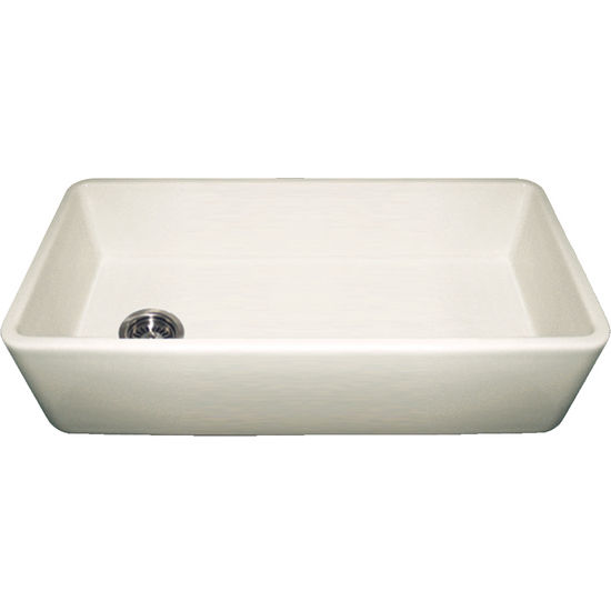 Whitehaus Farmhaus Fireclay Sink with Smooth Front Apron, Biscuit