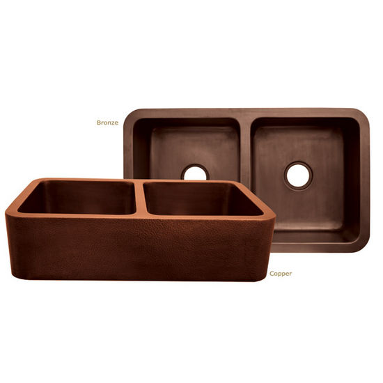 Whitehaus Copperhaus Collection Rectangular Double Undermount Sink
