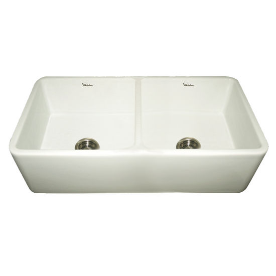 Whitehaus Double Bowl Farmhaus Fireclay Sink, Biscuit