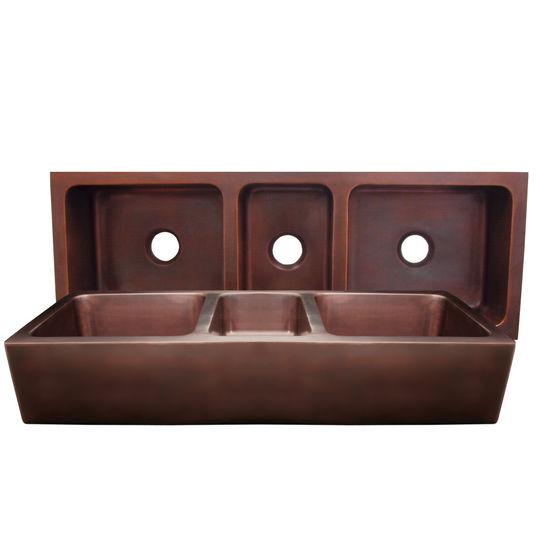Whitehaus Copperhaus Collection Rectangular Triple Bowl Undermount Sink, Smooth Bronze