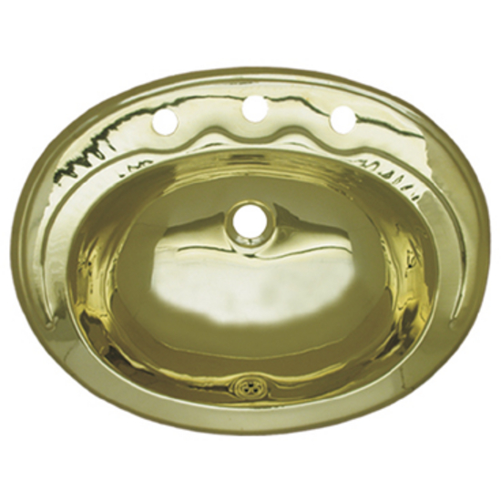 "Whitehaus Smooth Oval Drop-In Bathroom Basin with 8"" Widespread Faucet Holes in Polished Brass"