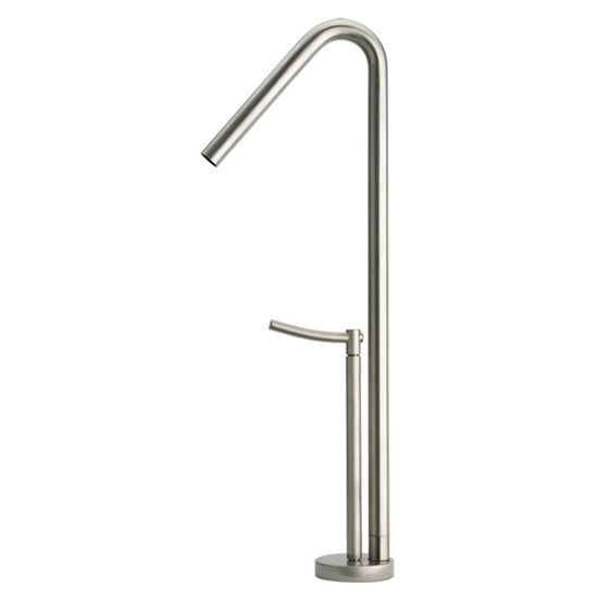 Whitehaus Metrohaus Single Hole Elevated Faucet with 45� Swivel Spout, Brushed Nickel