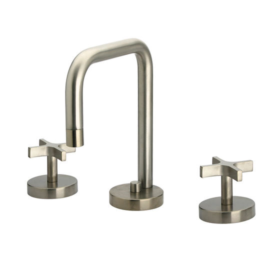 Whitehaus Metrohaus Widespread Lavatory Faucet with Swivel Spout & Pop-up Waste, Brushed Nickel