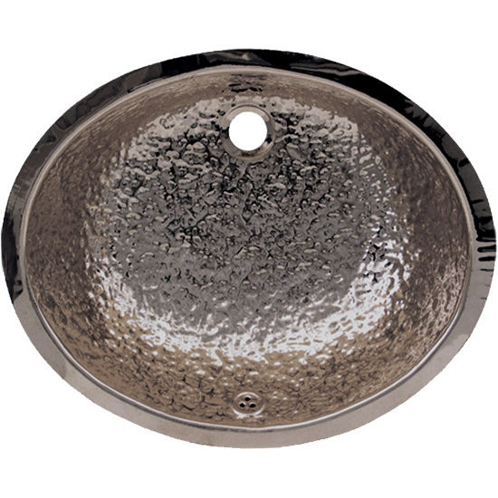 Whitehaus Decorative Oval Hammered Undermount Bathroom Basin in Polished Stainless Steel