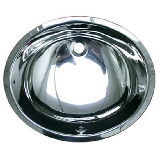 Whitehaus Smooth Oval UnderMount Bathroom Basin in Polished Stainless Steel