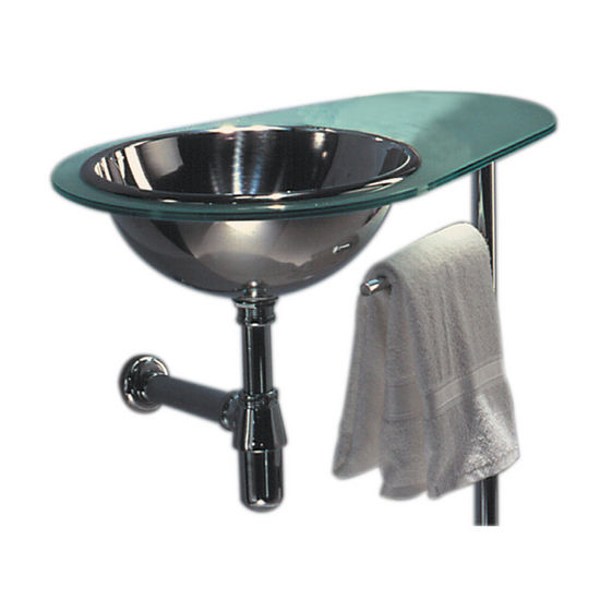 Whitehaus Aqua Glass Countertop with Left Stainless Steel Drop-In Sink