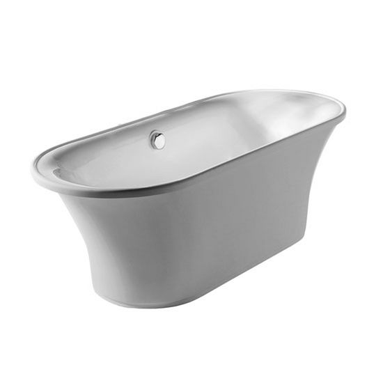 """Whitehaus Bathhaus Collection Oval Double Ended Freestanding Bathtub wth Chrome Mechanical Pop-Up Waste and Chrome Center Drain with Internal Overflow in White, 68-7/8"""" W x 29-1/2"""" D x 23-5/8"""" H"""