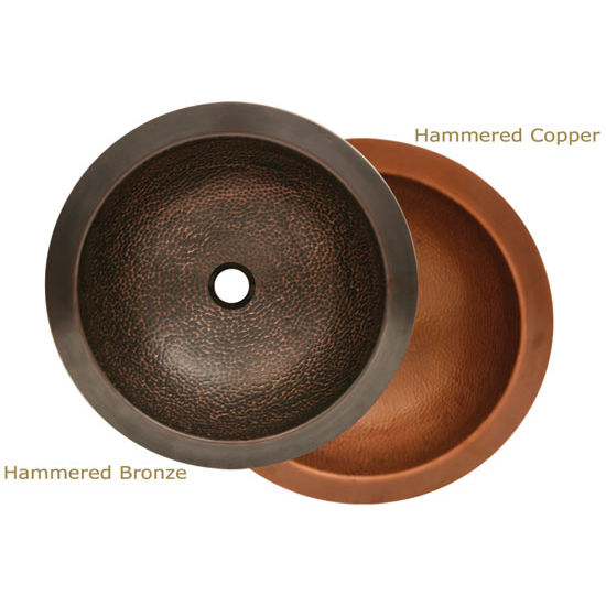 "Whitehaus Copperhaus Collection Hammered Round Prep Sink, 16½"" Dia. x 5¾""H"