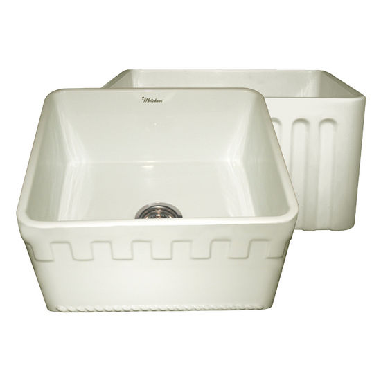 "Whitehaus Reversible Series Fireclay Sink with Athinahaus Front Apron, Biscuit, 20""W x 18""D x 10""H"