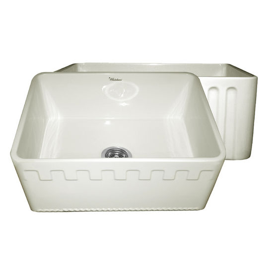 "Whitehaus Reversible Series Fireclay Sink with Athinahaus Front Apron, Biscuit, 24""W x 18""D x 10""H"