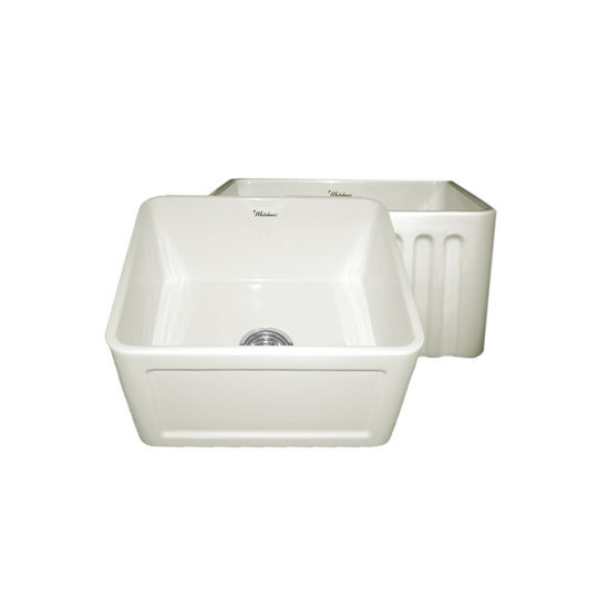 "Whitehaus Reversible Series Fireclay Sink with Concave Front Apron, Biscuit, 20""W x 18""D x 10""H"