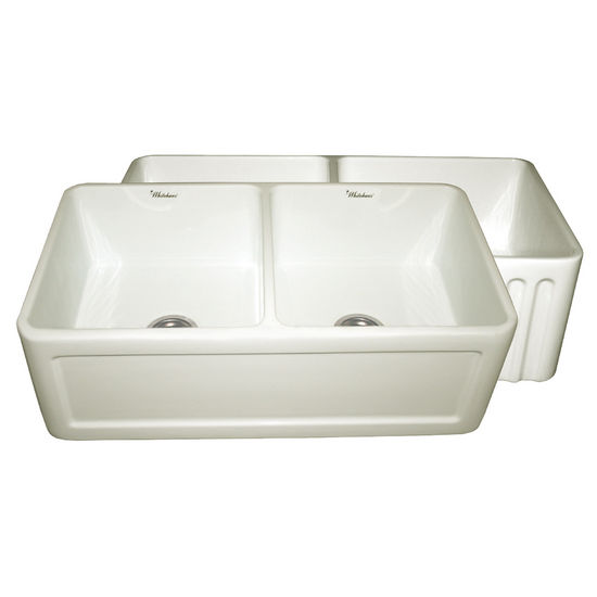 "Whitehaus Reversible Series Double Bowl Fireclay Sink with Concave Front Apron, Biscuit, 33""W x 18""D x 10""H"