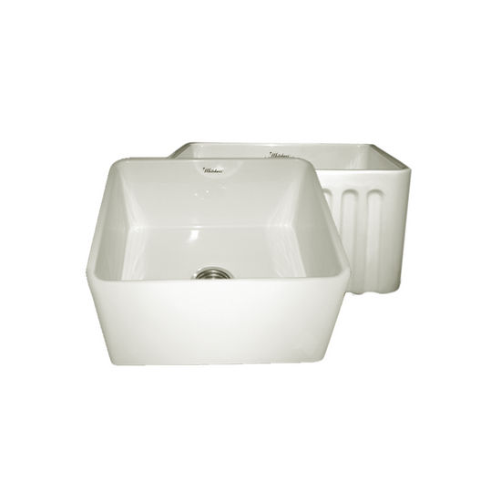 "Whitehaus Reversible Series Fireclay Sink with Smooth Front Apron, Biscuit, 20""W x 18""D x 10""H"