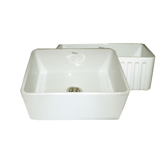 "Whitehaus Reversible Series Fireclay Sink with Smooth Front Apron, Biscuit, 24""W x 18""D x 10""H"