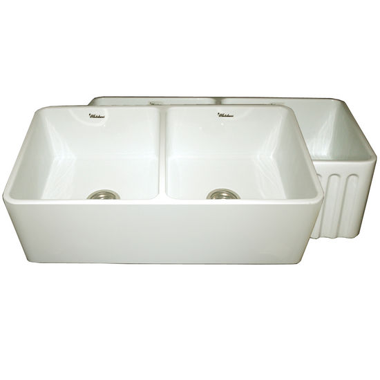 "Whitehaus Reversible Series Double Bowl Fireclay Sink with Smooth Front Apron, Biscuit, 33""W x 18""D x 10""H"