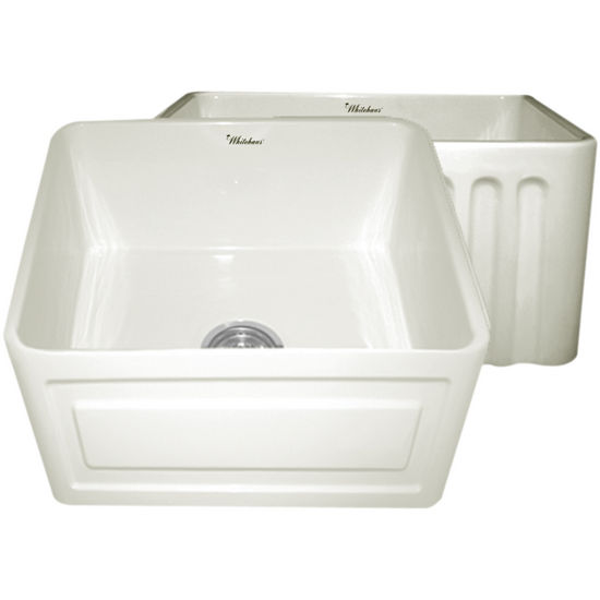 "Whitehaus Reversible Series Fireclay Sink with Raised Panel Front Apron, Biscuit, 20""W x 18""D x 10""H"