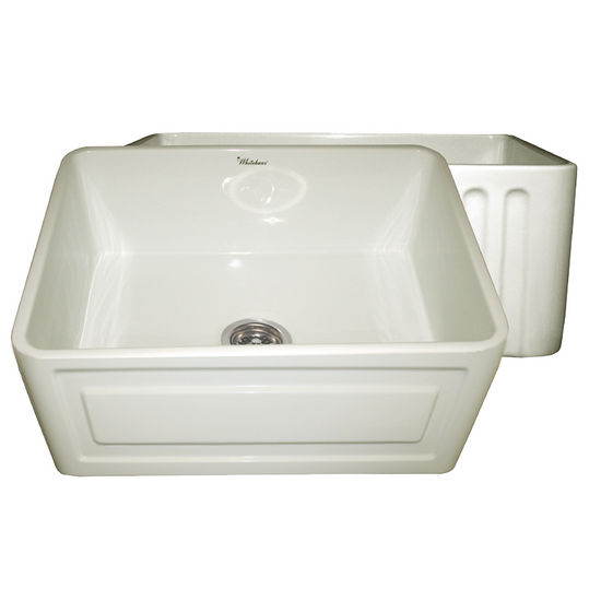 "Whitehaus Reversible Series Fireclay Sink with Raised Panel Front Apron, Biscuit, 24""W x 18""D x 10""H"