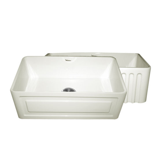 "Whitehaus Reversible Series Fireclay Sink with Raised Panel Front Apron, Biscuit, 30""W x 18""D x 10""H"