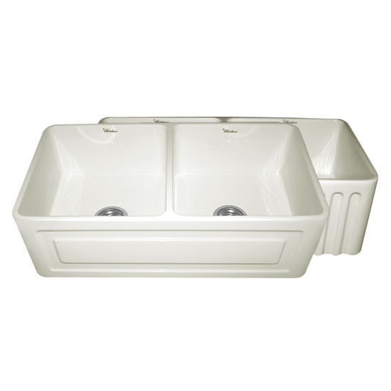 "Whitehaus Reversible Series Double Bowl Fireclay Sink with Raised Panel Front Apron, Biscuit, 33""W x 18""D x 10""H"