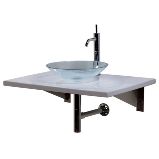 Whitehaus Wall Mounted Porcelain Counter Top with Clear Glass Vessel Sink