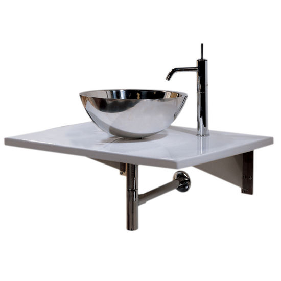 Whitehaus Wall Mounted Porcelain Counter Top with Stainless Steel Vessel Sink