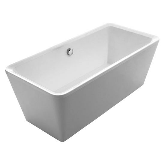 """Whitehaus Bathhaus Collection Cubic Style Double Ended Freestanding Bathtub with Chrome Mechanical Pop-Up Waste and Chrome Center Drain with Internal Overflow in White, 67"""" W x 31-1/2"""" D x 24-1/2"""" H"""
