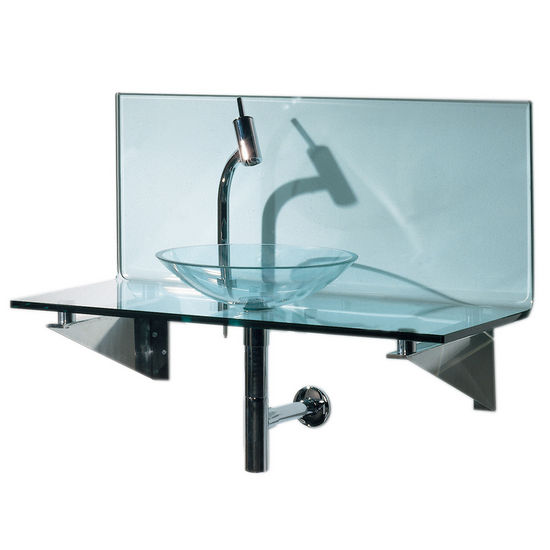 Whitehaus Wall Mounted L-shaped Glass Countertop with Glass Vessel Sink